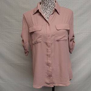 Rose dust Pink lulus tab sleeves blouse